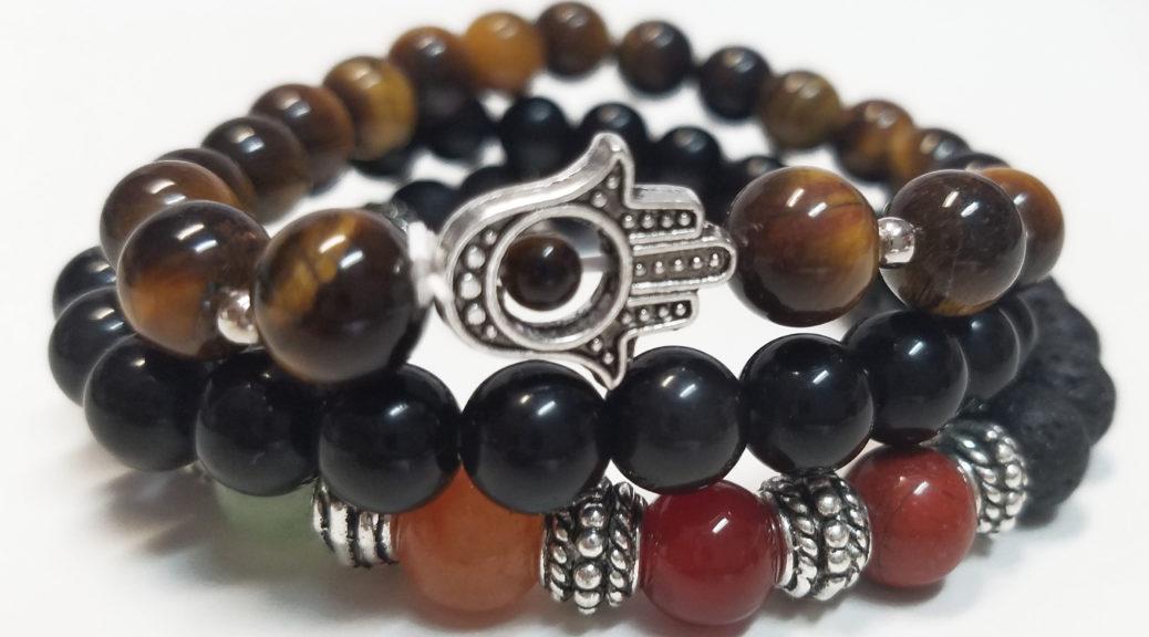 Chakra Rox Courage Bracelet Set for Courage featuring Tiger's Eye bracelet, 7-Chakra Bracelet and Black Obsidian Bracelet for Heaing