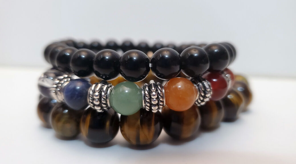 Courage and Confidence Set Featuring Tiger's Eye Bracelet, Black Obisidian bracelet and 7-Chakra Healing / Diffuser Bracelet featuring Lava Stones