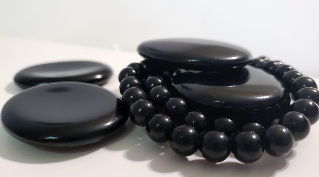 Black Obsidian Bracelet and Worry Stones by Chakra Rox