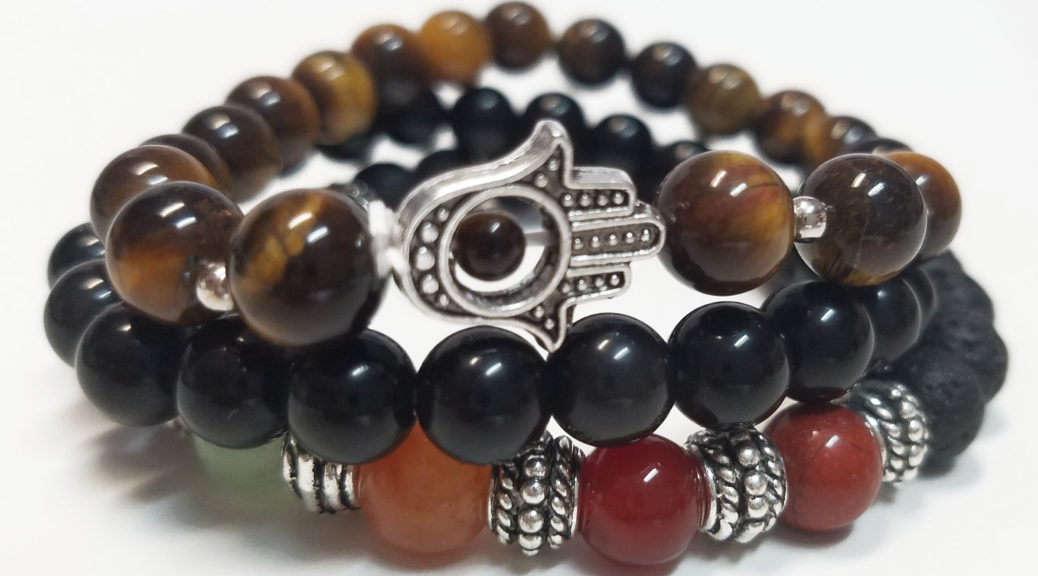 Chakra Rox Courage Bracelet Set for Courage featuring Tiger's Eye bracelet, 7-Chakra Bracelet and Black Obsidian Bracelet for Heaing