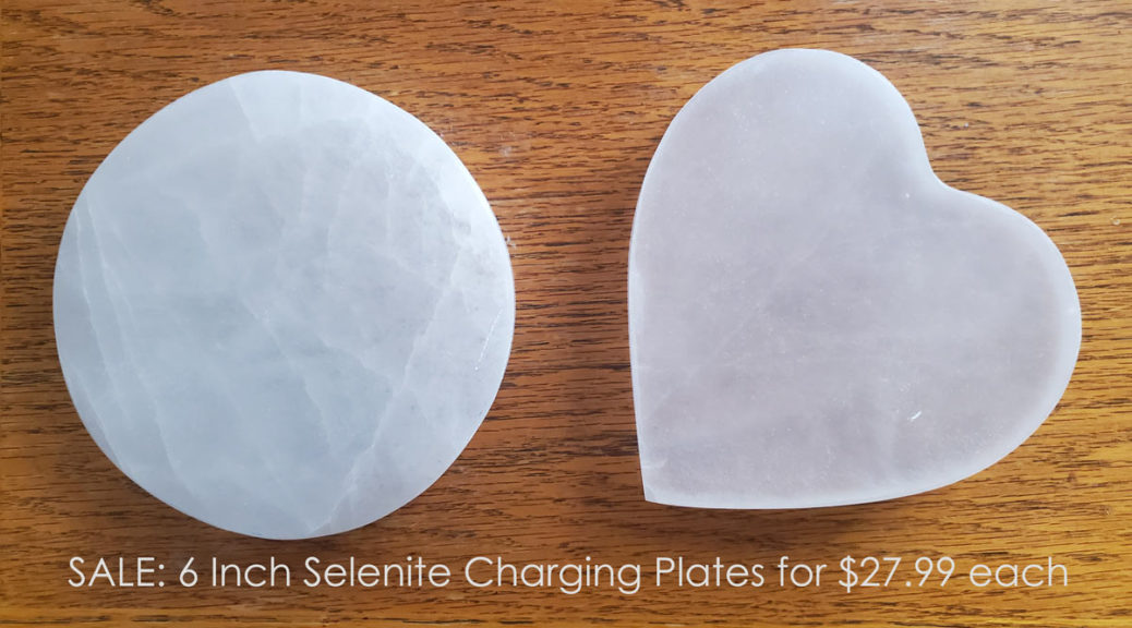 Save on Chakra Rox 6 Inch Round Shaped Selenite Plate or 6 inch Heart-Shaped Selenite Charging Station