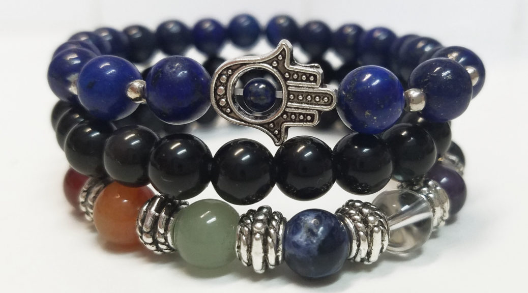 Clarity and Confidence Bracelet Set featuring Lapis Lazuli, Black Obsidian and 7-Chakra Diffuser Bracelet