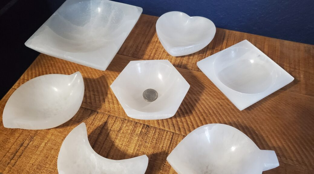 New Styles of Selenite Bowl from Chakra Rox for crystal healing, charging crystals